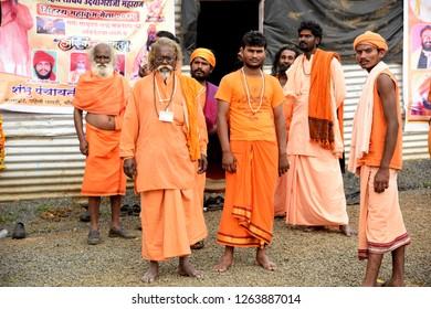 NASHIK, INDIA 29 AUGUST 2015 : Unidentified Hindu Sadhu the holy man at the Ramghat of Godavari River during the Simhastha Kumbh Mela, Nashik, Maharashtra, India.