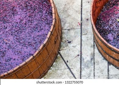 Nashik, Maharastra/India - 02 16 2019: A grape stomping container at sula vineyards.