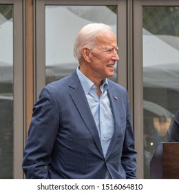 Nashua, New Hampshire/USA - May 14, 2019 : Joe Biden speaks at the home of State Sen. Bette Lasky, and Dr. Elliot Lasky