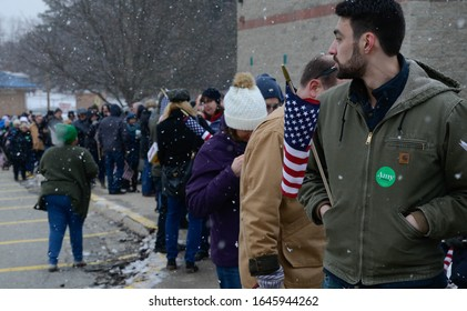 Nashua, N.H./USA - Feb. 9, 2020: A long line of voters waits to get into Sen. Amy Klobuchar's town hall meeting two days before the New Hampshire primary.