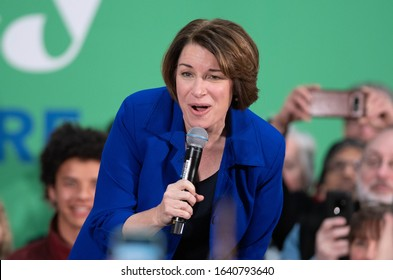 Nashua, N.H./USA - February 9, 2020: U.S. Senator Amy Klobuchar, D-Minn., speaks at a campaign rally during the New Hampshire presidential primary.