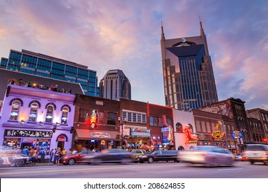 NASHVILLE - AUGUST 1: Downtown Nashville cityscape in the evening on August 1, 2014 in Nashville, TN. Nashville is the capital of the State of Tennessee and the county seat of Davidson County.