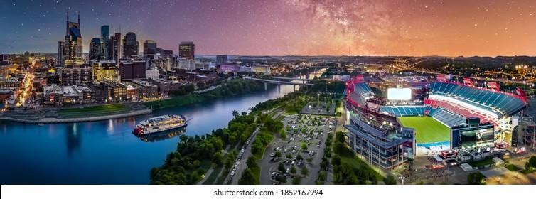 Nashville cityscape with milky way galaxy