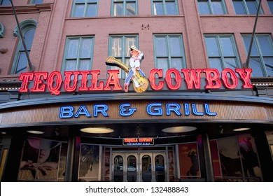 NASHVILLE - DECEMBER 01: Tequila Cowboy Bar and Grill, Neon sign on December 01, 2012 in Nashville, Tennessee