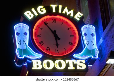 NASHVILLE - DECEMBER 03: Big Time Boots neon sign on Lower Broadway Area on December 03, 2012 in Nashville, Tennessee, USA