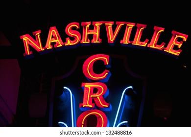 NASHVILLE - DECEMBER 03: Nashville Crossroads neon signs on Lower Broadway Area on December 03, 2012 in Nashville, Tennessee, USA