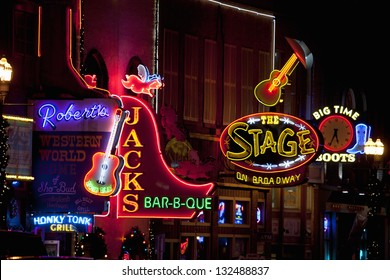 NASHVILLE - DECEMBER 03: Neon signs on Lower Broadway Area on December 03, 2012 in Nashville, Tennessee, USA