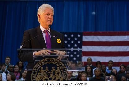 NASHVILLE - JANUARY 21: Former President Bill Clinton speaks at Fisk University January 21, 2008 in Nashville, Tennessee.