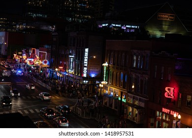 NASHVILLE - JUNE 2.  Bars on Broadway in Nashville play host to live music on June 2, 2019 at Nashville, Tennessee.