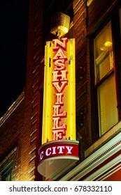 NASHVILLE - MAY 27: Nashville city neon sign at the Broadway street on May 027, 2017 in Nashville, TX.