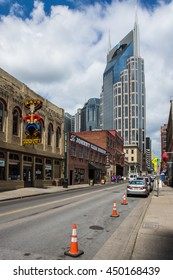 NASHVILLE - MAY 5: A look down a touristy downtown street in Nashville, TN on May 5, 2016.