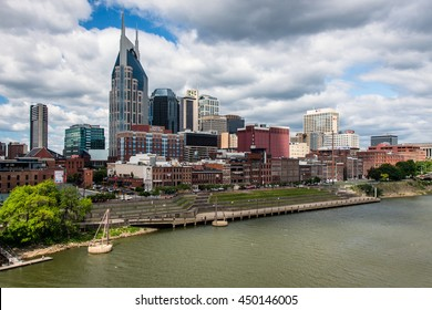 NASHVILLE - MAY 5: A view of downtown Nashville from East Nashville with the Cumberland River in the foreground on May 5, 2016.
