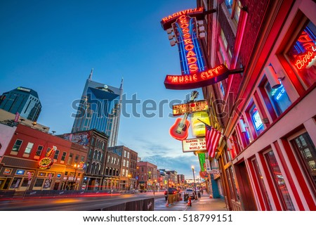 NASHVILLE - NOV 11: Neon signs on Lower Broadway Area on November 11, 2016 in Nashville, Tennessee, USA