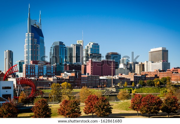 NASHVILLE - NOV 7: Downtown Nashville basks in the sun of a gorgeous November 7, 2013 fall day. Our vantage point is from East Nashville, just across the Cumberland River from downtown.