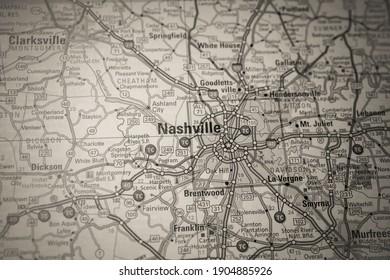 Nashville on USA map background