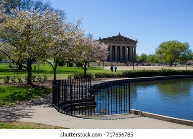 Nashville Parthenon as seen from the pond