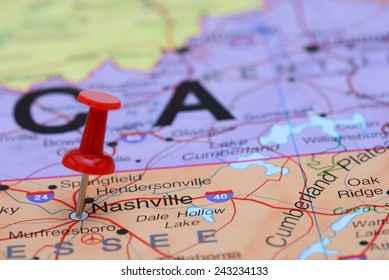 Nashville pinned on a map of USA