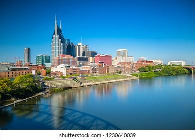 Nashville Skyline from John Seigenthaler Pedestrian Bridge on a sunny Day