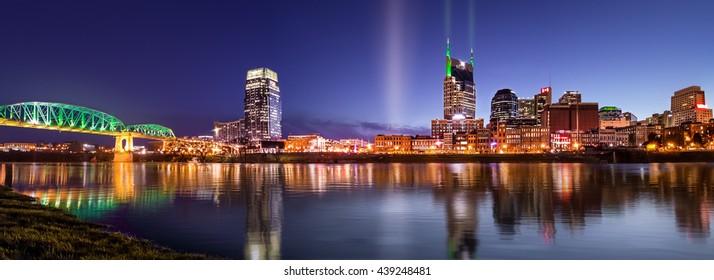 Nashville skyline on St Patrick's day.