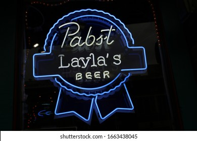 Nashville Tenn. February 15, 2020 Broadway nightlife district in downtown Nashville with a vast selection of bars, pubs, and restaraunts. Pabst Beer neon sign at Layla's Bar and Grill.