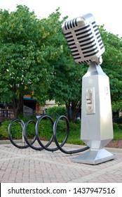 Nashville, Tennessee, 05/27/2012 large microphone sculpture in Nashville, vable serving as bike stand