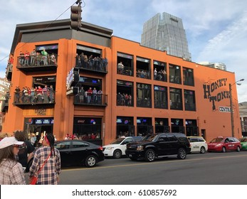 Nashville Tennessee, Circa 2017: Honkey Tonks bar and restaurant on music row downtown. Popular tourist attracting for country music fans to drink and eat