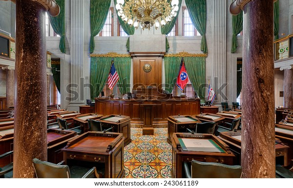NASHVILLE, TENNESSEE - DECEMBER 1: Senate Chamber in the Tennessee State Capitol building on December 1, 2014 in Nashville, Tennessee