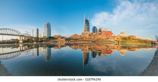 Nashville, Tennessee downtown skyline with Cumberland River in USA