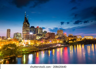 Nashville, Tennessee downtown skyline at twilight USA