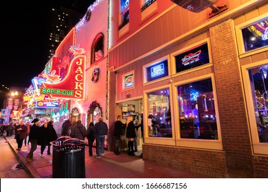 Nashville, Tennessee: January 2, 2020:  Nashville's Broadway, which offers live music in neon-decorated buildings.  Nashville is the capital of Tennessee.