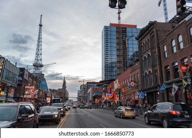 Nashville, Tennessee: January 2, 2020:   Traffic and urban life in the city of Nashville.  The population of Nashville is 691,243.