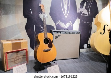 Nashville, Tennessee: January 2, 2020:     The Johnny Cash Museum & Cafe in the city of Nashville.  Johnny Cash was a famous country singer.