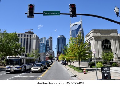"""NASHVILLE, TENNESSEE - MAY 02, 2017:  View of the city of Nashville. It is the capital of the state of Tennessee and is know as the """"Music City USA."""
