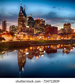 Nashville, Tennessee, skyline at dusk