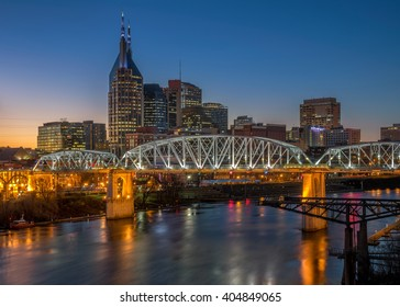 Nashville Tennessee skyline at twilight over the Cumberland River