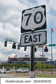 Nashville, Tennessee: State route 70 E. sign in front of intersection Broadway & 1st Avenue. (September 10, 2020)