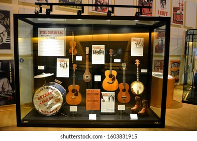 Nashville, Tennessee, United States of America - October 20, 2015. Interior view of the Country Music Hall of Fame and Museum in Nashville, TN, with steel guitars exhibits.
