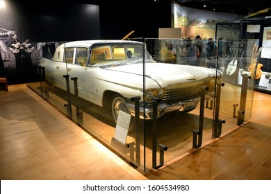 Nashville, Tennessee, United States of America – October 20, 2015. Solid Gold Cadillac owned by Elvis Presley, on display at Country Music Hall of Fame and Museum in Nashville, TN.