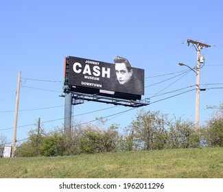 Nashville, Tennessee USA - 04.04.2021: Billboard for the Johnny Cash Museum.