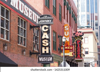 Nashville, Tennessee / USA - April 6 2019: Sign for the Johnny Cash Museum