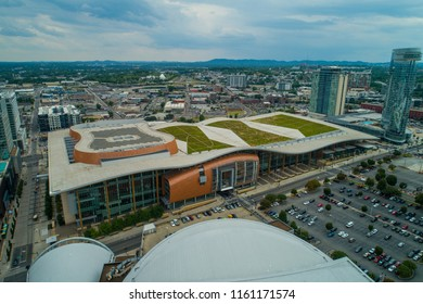 NASHVILLE, TENNESSEE, USA - AUGUST 1, 2018: Aerial drone shot of Nashville Music City Center