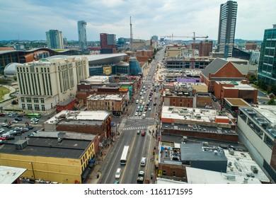 NASHVILLE, TENNESSEE, USA - AUGUST 1, 2018: Aerial drone photo of Broadway Nashville Tennessee USA a popular tourist destination