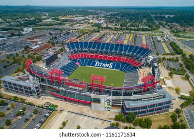NASHVILLE, TENNESSEE, USA - AUGUST 1, 2018: Aerial drone image of the Nissan Stadium Nashville Tennessee USA