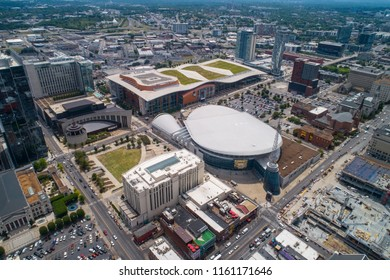 NASHVILLE, TENNESSEE, USA - AUGUST 1, 2018: Aerial drone image of the Nashville Music City Center Tennessee USA