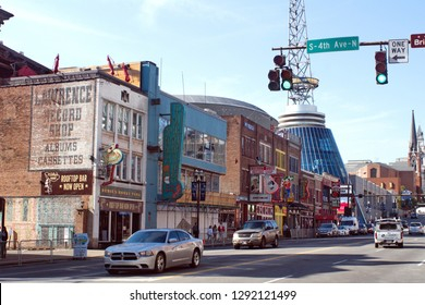 NASHVILLE, TENNESSEE, USA - CIRCA OCTOBER 2018: Buildings in the tourist district around Broadway, downtown