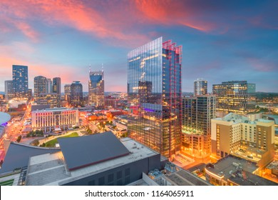 Nashville, Tennessee, USA downtown cityscape at dusk.
