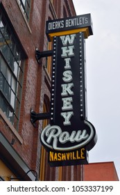 NASHVILLE, TENNESSEE, USA - MARCH 19, 2018:  Dierks Bentley's famous Whiskey Row restaurant and bar neon sign, located at lower Broadway downtown Nashville.