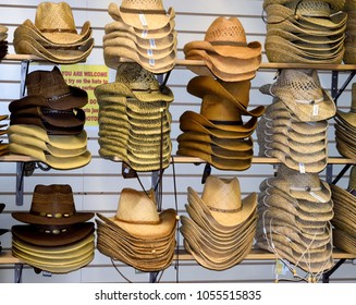 NASHVILLE, TENNESSEE, USA - MARCH 20, 2018: Cowboy hats for sale at Willie Nelson and Friends museum and general store. Main attraction for visitors from all over the world.