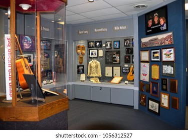 NASHVILLE, TENNESSEE, USA - MARCH 20, 2018: Country music entertainers artifacts displayed at Willie Nelson and Friends Museum and General Store located at Nashville.