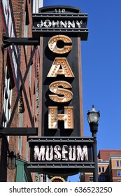 NASHVILLE, TENNESSEE, USA - MAY 01, 2017: Johnny Cash museum exterior neon sign advertisement at Nashville, Tennessee.